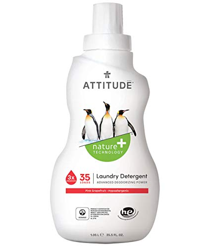 ATTITUDE Nature +, Hypoallergenic 3X Concentrated Laundry Detergent, Pink Grapefruit, 35.5 Fluid Ounce, 35 Loads