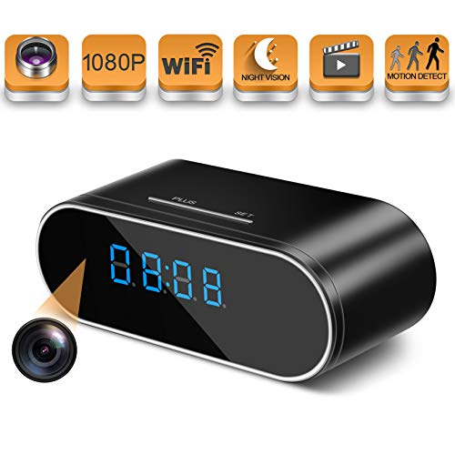 Hidden Spy Camera Wireless Hidden,HOSUKU 1080P Clock Hidden Cameras Wireless IP Surveillance Camera for Home Security Monitor Video Recorder Nanny Cam 140 Angle Night Vision Motion Detection (Indoor Camera Hidden)