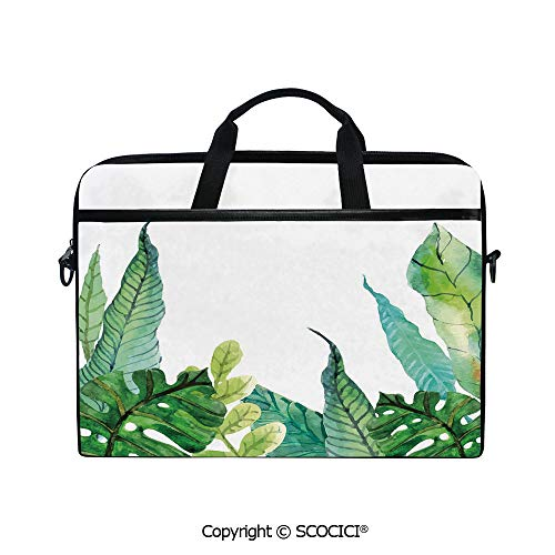 Mobile Edge Select Leather - Printed Laptop Bags Notebook Bag Covers Cases Watercolor Hand Drawn Image Cuten Banana Fragipani Trees Leaves Decorative with Adjustable Strip and Zipper Closure