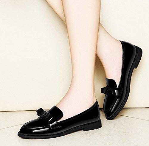 Zapatos Mujer Rojo Perezosos Cabeza de Caminar Moda Zapatos de Color para PU Otoño y Mocasines Primavera tamaño Zapatos Zapatos Comfort Artificial 39 Redonda Arco Negro Zapatos Verano Sueltos de r5nTra