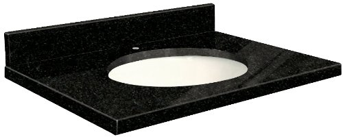 Samson G3719-F5-A-W-1 Granite Vanity Top 37x19 with Single Undermount White Bowl 1-Hole Eased Edge Absolute Black