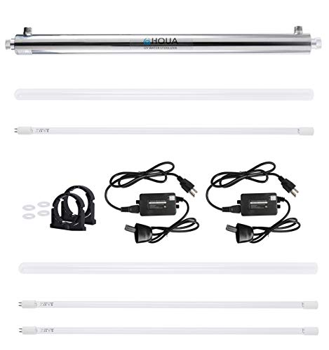 HQUA-OWS-124 Ultraviolet Water Purifier Whole House Purification Sterilizer, 12GPM 120V 55W Model HQUA-UV-12GPM + 2 Extra UV Tube + 1 Extra Ballast + 1 Extra Quartz Sleeve -