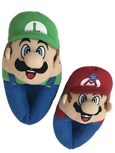 Musical - Super Mario Bros Plush, Mario and Luigi Slippers - Kids Size (11/12, Multi Color) (Mario Plush Slippers)