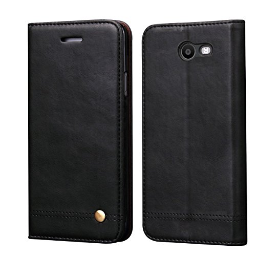 Galaxy J7 V Case,J7 Sky Pro Case,J7 Perx/J7 Prime/J7 Sky Pro/Galaxy Halo Case,RUIHUI Luxury Leather Wallet Folio Flip Protective Shell Cover with Card Slot and Stand for Samsung Galaxy J7 2017(Black)