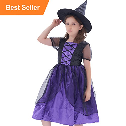 Glitter Witch Girl (Child's Story Book Glitter Witch Costume With Hat Classic Witchy Black Party Decorations Pretend Play Dress(6-8Y))