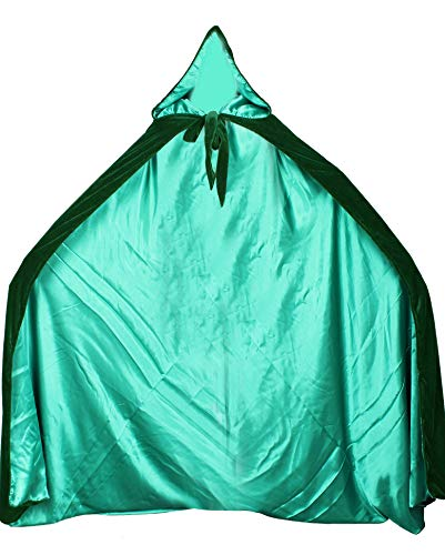 (LuckyMjmy Velvet Renaissance Medieval Cloak Cape lined with Satin (Plus+, Dark green-Green))