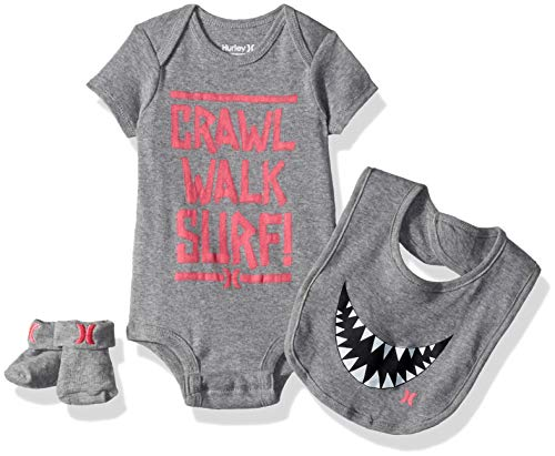 Hurley Baby Bodysuit Box Set, Dark Grey Verbage, 6M]()