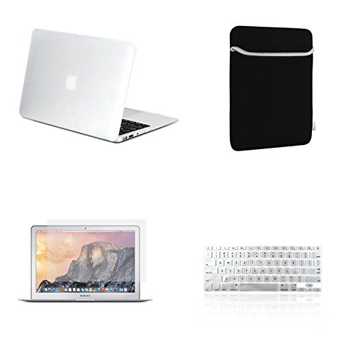 TOP CASE - 4 in 1 Rubberized Hard Case, Keyboard Cover, Screen Protector, Sleeve Bag Compatible with MacBook Air 13
