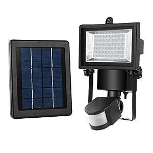 Projecteur led solaire avec détecteur de mouvements MEIKEE 300LM Lampe solaire de sécurité 60LED Étanche IP65 Projecteur led solaire parfait pour patios, balcons, garages, jardins, couloir, etc