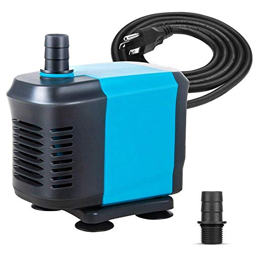 KEDSUM 770GPH Submersible Pump(3500L/H,65W), Ultra Quiet Water Pump with 6.5ft High Lift, Fountain Pump with 5.4ft Power Cord, 2 Nozzles for Fish Tank, Pond, Aquarium, Statuary, Hydroponics