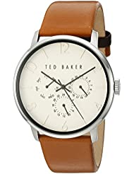 Ted Baker Mens Smart Casual Quartz Stainless Steel and Leather Dress Watch, Color:Brown (Model: 10029569)