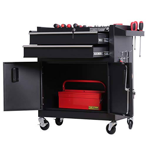 TANKSTORM Tool Chest Heavy Duty Cart Steel Rolling Tool Box with Lockable Drawers and Doors (TZ12A Black) by TANKSTORM (Image #2)