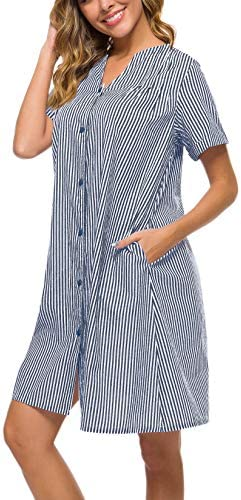 YOZLY House Dress Women Cotton Duster Robe Short Sleeve Housecoat Button Down Nightgown 4