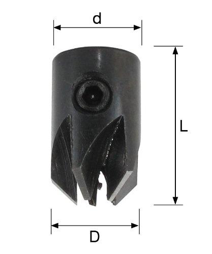 L 20 mm ENT 26462 Aufsteckversenker WS Durchmesser d 5 mm D 12 mm rechts