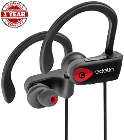 Bluetooth Headphones Edelin – Wireless Earbuds with Mic HD Stereo Noise Cancelling Waterproof IPX7 for Sport Running Gym – Earphones Compatible iPhone 8 X Samsung Galaxy S9 Android iOS – Headset