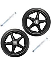 """6 Inch Front Wheelchair Wheel, 7 8 Inch, Replacement Wheel for Wheelchairs Rollators, 5/16"""" (8 Mm) Bearing, with Screws, Hard Rubber Tire-Solid, Black, Grey, 1 Pair"""