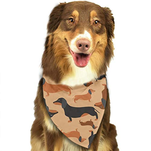 (OURFASHION Retro Dachshunds Pattern Bandana Triangle Bibs Scarfs Accessories for Pet Cats and)