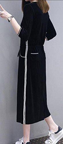 Long M Women's Velvet Sweater Black amp;W Dress Sleeve amp;S Casual Party wpxq4OHpX