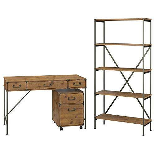 kathy ireland Home by Bush Furniture Ironworks 48W Writing Desk with Mobile File Cabinet and Bookcase in Vintage Golden Pine