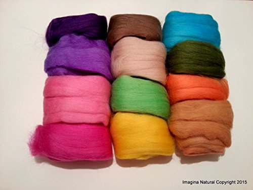 Pack of 12 Small Multicolour Balls of Merino Roving Wool, Felting, Weaving, Crafting, 100% Merino Roving, Multicolor Roving, Multicolour