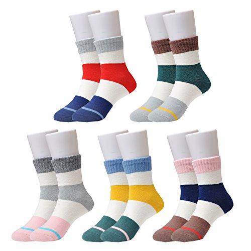 Epeius Kids Little Girls/Boys' Stripes Pattern Fashion Cotton Short Crew Socks for 8-11 Years 5 Pair Pack,Shoe Size (Kids Stripe Pattern)