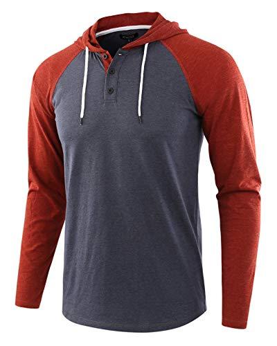 HETHCODE Men's Casual Lightweight Long Sleeve Raglan Henley Jersey Hoodie Shirt C.Blue/Rusty XL