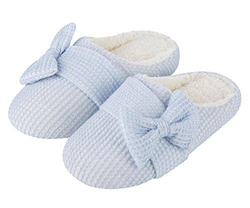 Cattior Womens Big Bow Pantoufles Mignonnes Maison Pantoufles Chaudes Dintérieur Bleu