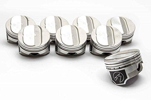 Speed-Pro-TRW Coated Kirt Pistons & Hastings MOLY-Ring-Kit compatible with Chevy-350-5-7-Forged-Dome- 4.00