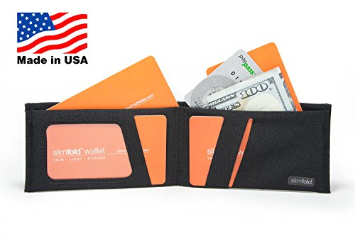 USA in Black Wallet Minimalist Made and Guaranteed with Stitching Black Waterproof Thin SlimFold Size RFID Option Nano Durable PBv5qCa