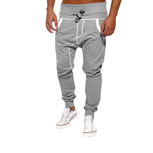 Mens Trousers,kaifongfu Casual Jogger Sportwear Sweatpants Baggy Harem Pants Slacks Trousers with Striped (XXL, Gray)