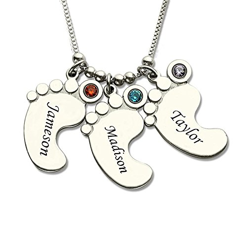 Baby Feet Charm Birthstone Mother Necklace Personalized Kids Name Necklace Celebrate Moms Children Birthstone Jewelry (Silver 22