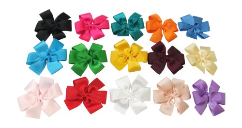 Large Boutique 3in Hair Bows for Teens Women & Toddlers Girls 15pcs ⌘Grosgrain Ribbon with Alligator Clips …