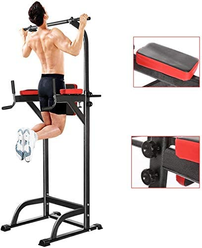 Aceshin Home Gym Pull Up Bar Stand Adjustable Abs Workout Knee Crunch Triceps Station Power Tower Fitness Equipment