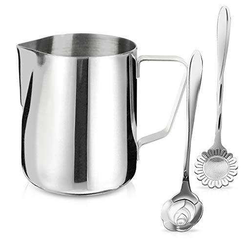Milk Frothing Pitcher Jug - 12oz/350ML Stainless Steel Coffee Tools Cup - Suitable for Espresso, Latte Art and Frothing Milk, Attached Dessert Coffee Spoons ()