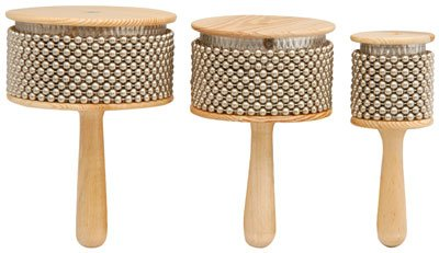 Z9V35 - MUSICAL INSTRUMENT WOODEN AFUCHE CABASAS WITH CHROMED BEADS AND DRUM PERCUSSION EFFECTS 170 x 65MM Digiteck 173.752UK