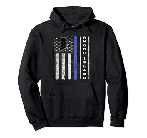 (Rhode Island Thin Blue Line Police Hoodie Flag Cop Gift Dad)