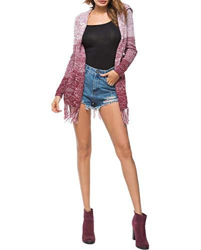 Primaverile Cappotto Tempo Fashion Qk Tassels Comodo Abbigliamento A Incappucciato Rosso Donna lannister Elegante Libero Pullover Lunghi Manica Giacca Lunga Maglia Autunno Vintage qUZ0Oqr