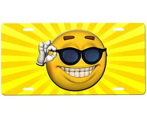 onestopairbrushshop Smiley Face License Plate ()