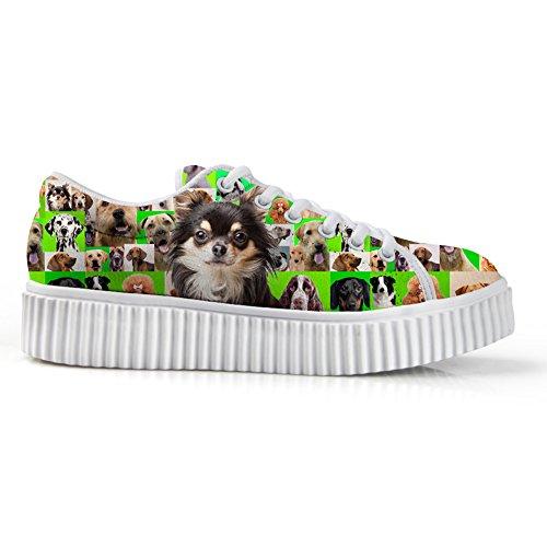 Knuffels Idee Casual Roze Vrouwen Platform Schoenen Gesneden Hond Print Sneakers Chihuahua Groen