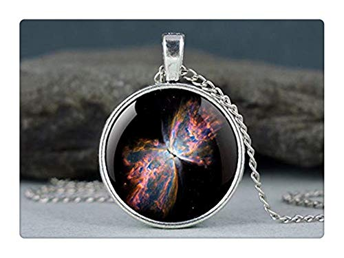 Pink rose Galaxy Necklace Butterfly Nebula, Bug Nebula, Pendant Space Necklace Universe Jewelry