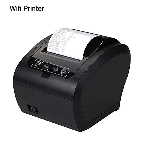 WiFi POS Receipt Printer, MUNBYN Black 80mm Direct Thermal Printer with USB Serial Ethernet,Support Android iOS Windows PC 300mm/sec ESC/POS ()