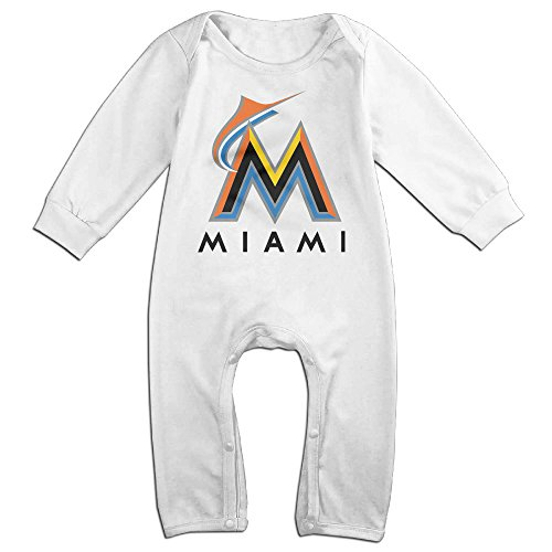 Dadada Newborn Miami Baseball Team M Logo Long Sleeve Jumpsuit Outfits 12 Months (Authentic Joker Costume)