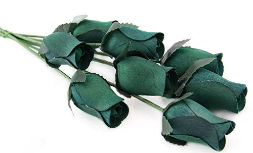 Hunter Green Roses Bunch of 8 Closed Bud Wooden Roses For Crafts Custom Bouquets and other DIY Projects. Choose form Over 50 Colors