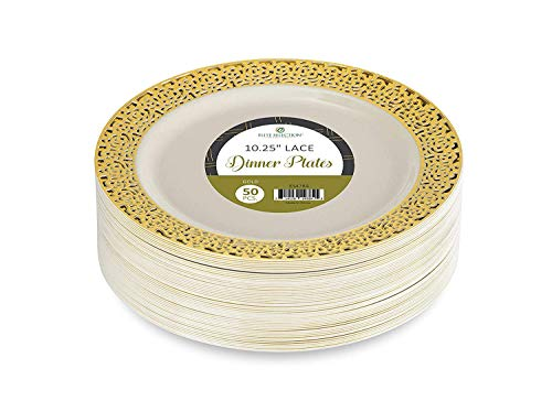 Dinner Disposable Plastic Plates - Elite Selection Pack of 50 Ivory Color with Gold Lace Rim 10.25 Inch