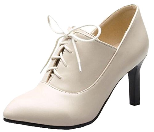 Easemax Mujer's Trendy Pointed Toe Mid Kitten Heel Lace Up Bombas Zapatos Beige