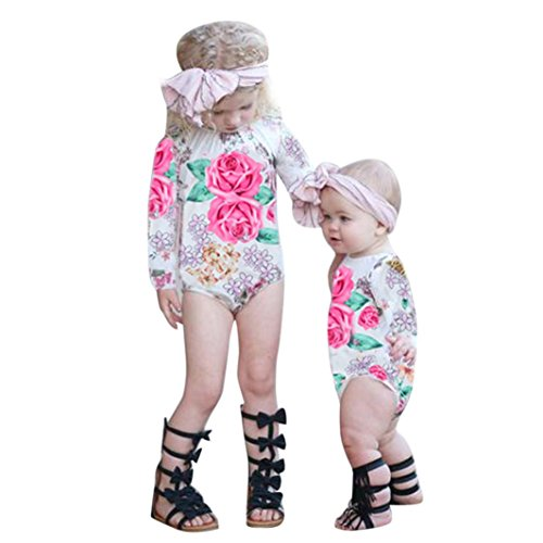GBSELL Newborn Toddler Baby Girls Floral Long Sleeve Romp...