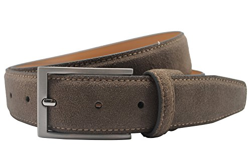 Ground Mind Men's Suede Leather Belt (34, Taupe)