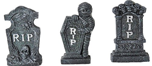 - Halloween RIP Tombstones (Set of 3) Size 6 Inch
