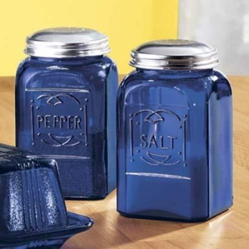 Cobalt Blue Glass Square Salt and Pepper Shakers SET