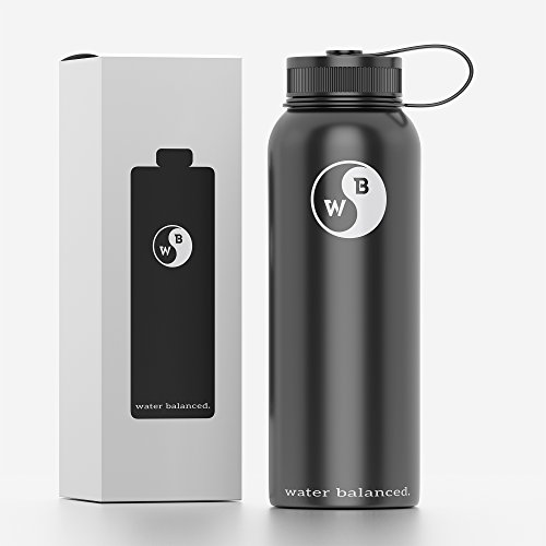 Water Bottle Stainless Steel, 40 oz by MyPocketWell! by Water Balanced.